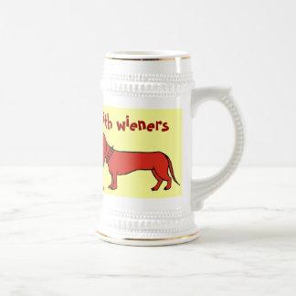 Funny wiener dog beer mug design
