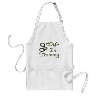 funny wife in training handcuffs bride to be mrs apron