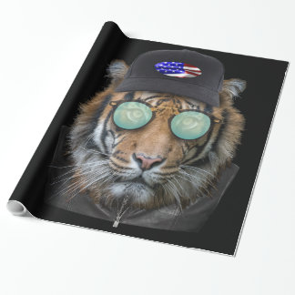 Funny wildlife dressed up Bengal Tiger Wrapping Paper