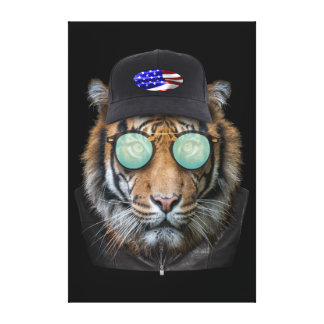 Funny wildlife dressed up Funny Bengal Tiger Canvas Print