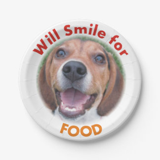 Funny Will Smile for Food Beagle Paper Plate