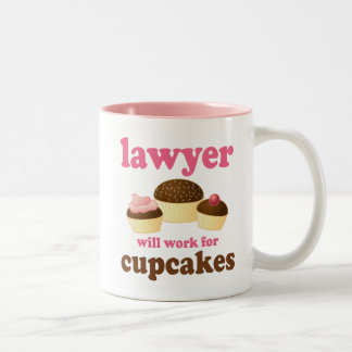 Funny Will Work for Cupcakes Lawyer Two-Tone Mug
