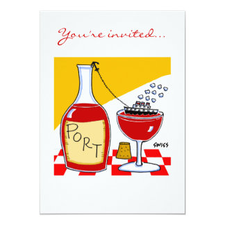 "Funny Wine & Cheese Tasting Party Invitations Temp 5"" X 7"" Invitation Card"