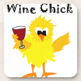 Funny Wine Chick Cartoon Beverage Coaster