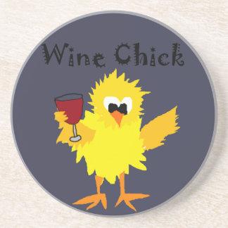 Funny Wine Chick Cartoon Coasters