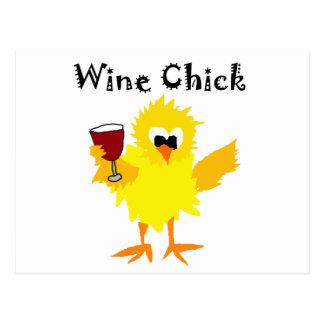Funny Wine Chick Cartoon Postcard
