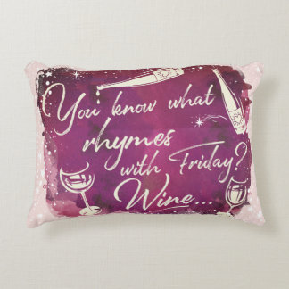 Funny Wine Humor Quote Typography Watercolor Art Decorative Cushion