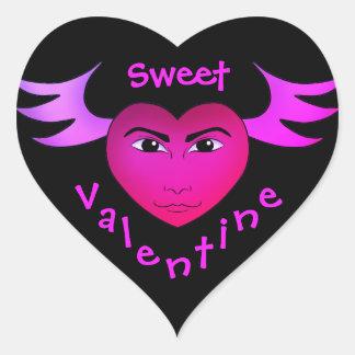 Funny winged heart heart sticker