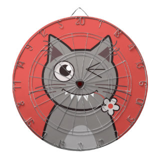 Funny Winking Cartoon Kitty Cat Dartboard