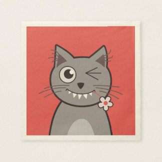 Funny Winking Cartoon Kitty Cat Paper Napkin