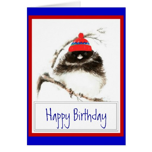 Funny Winter Birthday with Cute Winter Chilly Bird Cards