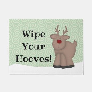 Funny Wipe Your Hooves Reindeer Door Mat