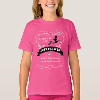 Funny Witch And Broomstick Just Flew In Graphic T-Shirt