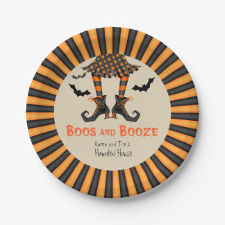 Funny Witch's Legs Halloween Party Paper Plate