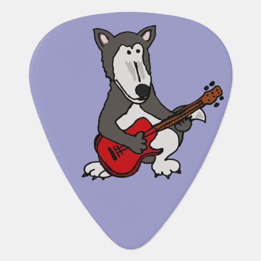 Funny Wolf Playing Red Guitar Guitar Pick