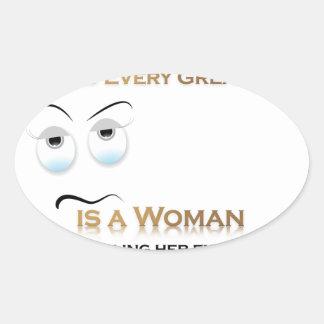 Funny Woman VS Great Man Oval Sticker