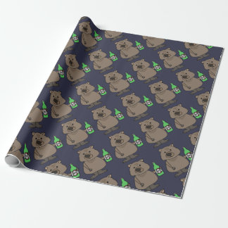 Funny Wombat Drinking Bottle of Beer Cartoon Wrapping Paper