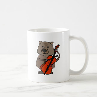 Funny Wombat Playing Cello Cartoon Coffee Mug