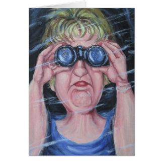 Funny Women With Binoculars Card