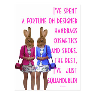 Funny womens shopping humor post cards