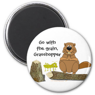 Funny Wood Turning Beaver and Grasshopper Cartoon 6 Cm Round Magnet