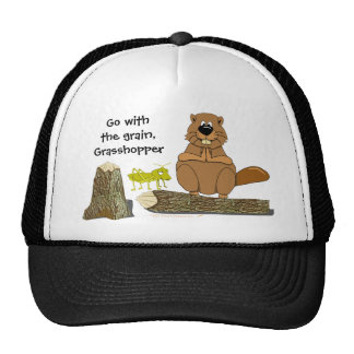 Funny Wood Turning Beaver and Grasshopper Cartoon Cap