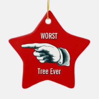 "Funny ""Worst Tree Ever"" Ceramic Ornament"