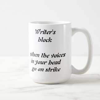Funny writer's block little voices mug