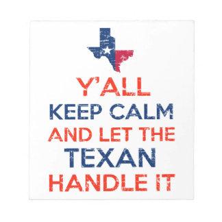 Funny Y'all Texan tees Notepad