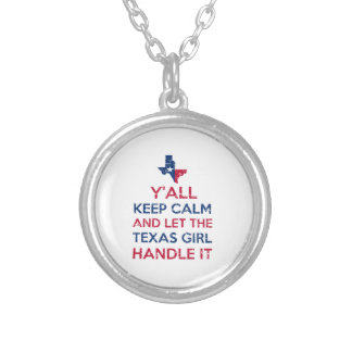 Funny Y'all Texan tees Silver Plated Necklace
