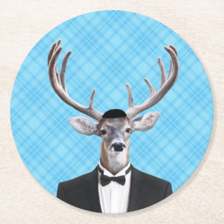 Funny Yarmulke Happy Hanukkah Deer Blue Plaid Round Paper Coaster