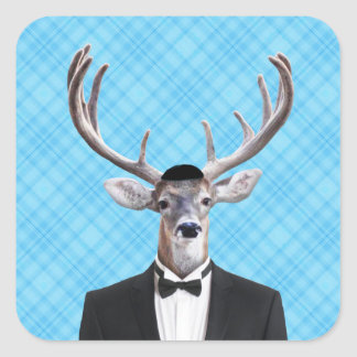 Funny Yarmulke Happy Hanukkah Deer Blue Plaid Square Sticker