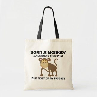 "Funny Year of The Monkey ""Born A Monkey"" Budget Tote Bag"
