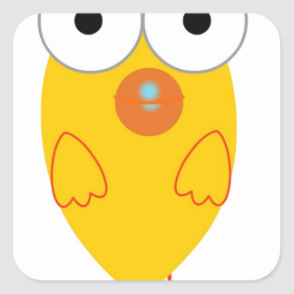 Funny Yellow Bird Square Sticker