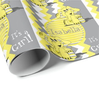 Funny Yellow Chevron Elephant - Personalize Wrapping Paper
