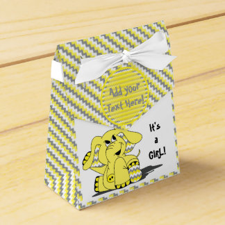 Funny Yellow Chevron Silly Elephant Party FavorBox Favour Box