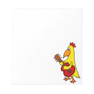 Funny Yellow Chicken Playing Guitar Notepad