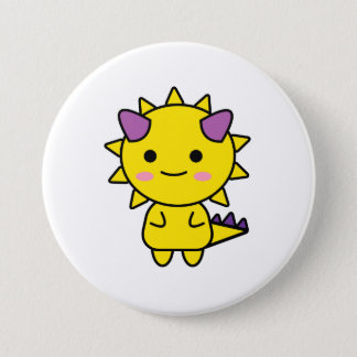 Funny Yellow Dinosaur Kawaii Cartoon 7.5 Cm Round Badge