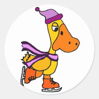 Funny Yellow Duck Ice Skating Cartoon Round Sticker