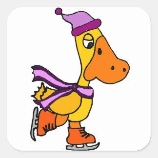 Funny Yellow Duck Ice Skating Cartoon Square Sticker