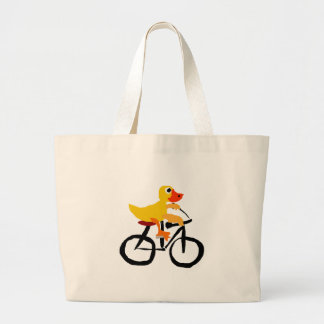 Funny Yellow Duck Riding Bicycle Large Tote Bag