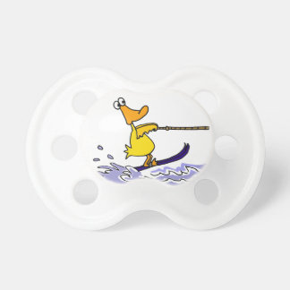 Funny Yellow Duck Water Skiing Baby Pacifier