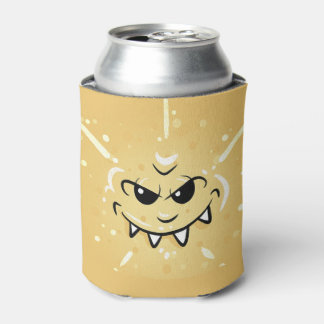 Funny Yellow Face with Sneaky Smile Can Cooler