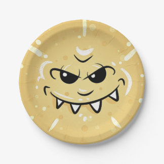 Funny Yellow Face with Sneaky Smile Paper Plate