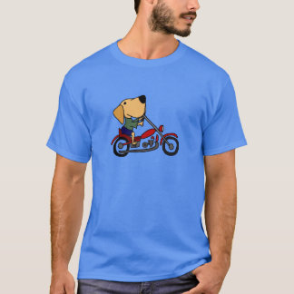 Funny Yellow Labrador Retriever on Motorcycle T-Shirt