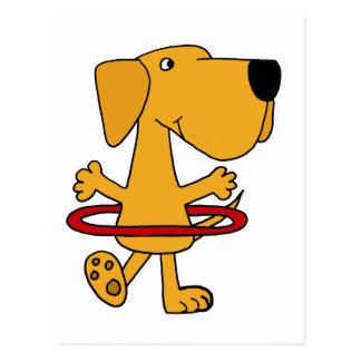 Funny Yellow Labrador Retriever Playing Hula Hoop Postcard