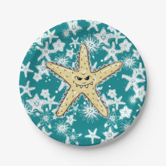 Funny yellow pointed Starfish with a smirk Paper Plate