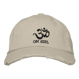 Funny Yoga Om Girl Embroidered Cap