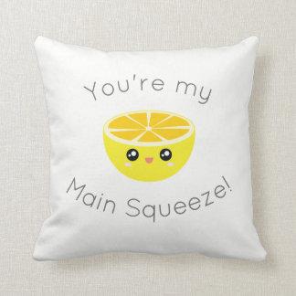 Funny You Are My Main Squeeze Kawaii Lemon Humor Cushion