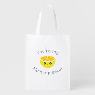 Funny You Are My Main Squeeze Kawaii Lemon Humor Reusable Grocery Bag